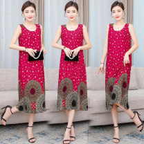 Dress Summer 2021 Color 1, color 2, color 3, color 4, color 5, color 6, color 7, color 8, color 9, color 10, color 11, color 12, color 13, color 14, color 15, color 16 XL,2XL,3XL,4XL,5XL longuette singleton  Sleeveless commute Crew neck Loose waist Decor Socket A-line skirt camisole 35-39 years old