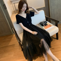 Dress Summer 2021 Pink, blue, black S,M,L Mid length dress singleton  Short sleeve commute V-neck High waist Solid color Socket Princess Dress routine Others 18-24 years old Type A 31% (inclusive) - 50% (inclusive) other