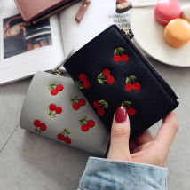 wallet Short Wallet PU Other / other Light pink dark pink grey blue dark green grey black brand new Sweet Lady  female Buckles Fruits 80% off youth