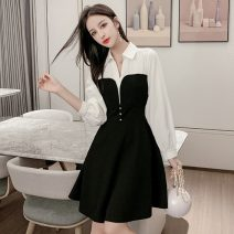 Dress Autumn 2020 black S,M,L,XL Mid length dress singleton  Long sleeves commute Polo collar High waist Solid color Socket A-line skirt routine Others 18-24 years old Type A Other / other Korean version Diamond, stitching, bead, button, zipper 51% (inclusive) - 70% (inclusive) other other