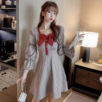 Dress Spring 2021 Red, blue S,M,L,XL Short skirt singleton  Nine point sleeve commute square neck High waist lattice Socket A-line skirt pagoda sleeve Others 18-24 years old Type A Korean version 51% (inclusive) - 70% (inclusive) other other