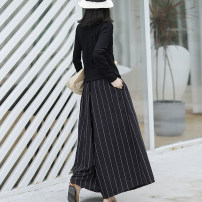 Casual pants Black, brown Average size Autumn of 2018 trousers Wide leg pants Natural waist original routine 81% (inclusive) - 90% (inclusive) YFLDW-1009 Other / other hemp