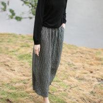 Casual pants Average size Autumn 2020 Ninth pants Wide leg pants Natural waist Versatile routine 96% and above Other / other hemp hemp