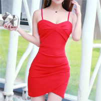 Dress Autumn 2020 White, red, black S,M,L Short skirt singleton  commute V-neck High waist Solid color One pace skirt camisole 18-24 years old Other / other Korean version cotton