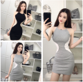 Dress Summer 2021 Gray, black Average size Short skirt singleton  Sleeveless commute other High waist Solid color Socket Pencil skirt other Hanging neck style 18-24 years old Type H Korean version 31% (inclusive) - 50% (inclusive) knitting