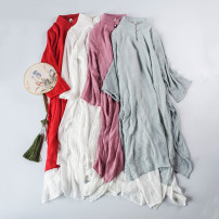 Dress Autumn of 2018 White, red, light cyan, light pink, with wide leg pants S. M, l, XL, one size with pants Middle-skirt Fake two pieces Long sleeves commute stand collar ethnic style