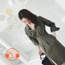 Dress Summer 2017 Beige stripe green stripe XS S M Mid length dress singleton  Long sleeves commute stand collar High waist stripe Socket Irregular skirt routine 25-29 years old Type A Simplicity More than 95% cotton