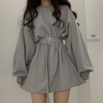 Dress Autumn of 2019 Gray, black, blue Average size Middle-skirt singleton  Long sleeves commute Crew neck Loose waist Solid color Socket A-line skirt other 18-24 years old Type A Korean version 81% (inclusive) - 90% (inclusive) other other