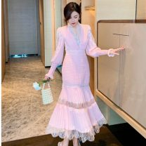 Dress Spring 2021 Pink, black, white, no reason to return in seven days S,M,L,XL longuette singleton  Long sleeves commute V-neck High waist Solid color zipper Pleated skirt bishop sleeve Others 25-29 years old Type A Stitching, lace, pleats 31% (inclusive) - 50% (inclusive) Lace polyester fiber