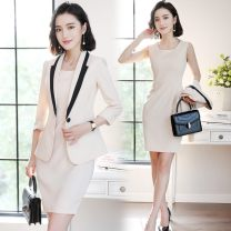 Professional dress suit S,M,L,XL,XXL,XXXL Grey suit, black suit, apricot suit, grey suit dress, black suit dress, apricot suit dress Summer of 2018 three quarter sleeve QYC-6090 Jacket, other styles A-line skirt 25-35 years old 96% and above