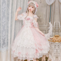 Dress Summer of 2019 Pink S. M, l, XL, custom code Mid length dress singleton  Sweet other middle-waisted other Princess Dress other Others 18-24 years old Type A in an unbroken line 71% (inclusive) - 80% (inclusive) Silk and satin Lolita
