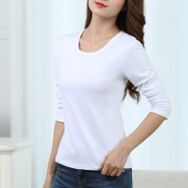 T-shirt White, red, yellow, orange, black, rose red, light blue, light green, light purple, purple, watermelon red, pink, color blue, Navy, dark green, leaf green M,L,XL,2XL Long sleeves Crew neck Self cultivation Regular routine commute polyester fiber 96% and above Korean version youth