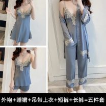 Pajamas / housewear set female Other / other M,L,XL,XXL Polyester (polyester) Long sleeves sexy pajamas Thin money V-neck Solid color trousers double-breasted youth rubber string More than 95% silk lace Middle-skirt