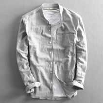 shirt Fashion City routine stand collar Long sleeves Self cultivation daily spring youth American leisure 2021 Solid color Linen washing Multiple pockets