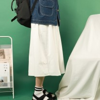 skirt Summer of 2019 S, M Black, white Mid length dress Versatile Natural waist Pleated skirt Solid color Type A More than 95% other cotton