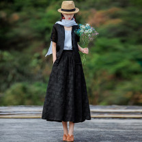 skirt Summer 2021 S,M,L black , Model matching accessories to be purchased separately Mid length dress commute High waist A-line skirt Solid color Type A X1007 31% (inclusive) - 50% (inclusive) Yingruyi language hemp Bandage, print ethnic style