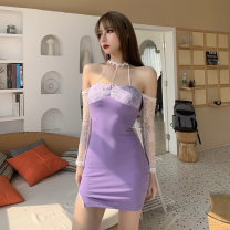 Dress Spring 2021 Purple, black S,M,L Short skirt singleton  Long sleeves street V-neck High waist other Socket One pace skirt other Hanging neck style 18-24 years old Type H INSGOTH Lace, split YBDK20D10620 81% (inclusive) - 90% (inclusive) Lace polyester fiber Europe and America