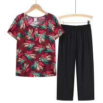 Middle aged and old women's wear Summer 2021 1, 2, 3, 4, 5 XL (about 85-105 kg recommended), XXL (about 105-120 kg recommended), 3XL (about 120-135 kg recommended), 4XL (about 135-155 kg recommended) leisure time suit easy Two piece set Flower and bird pattern Over 60 years old Socket thin Crew neck