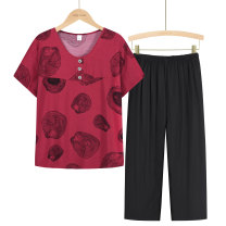 Middle aged and old women's wear Summer 2021 1, 2, 3, 4, 5, 6 XL (about 85-105 kg recommended), XXL (about 105-120 kg recommended), 3XL (about 120-135 kg recommended), 4XL (about 135-155 kg recommended) leisure time suit easy Two piece set Flower and bird pattern Over 60 years old Socket thin routine