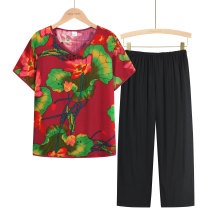 Middle aged and old women's wear Summer 2021 1, 2, 3, 4, 5, 6, 7, 8 XL (about 85-105 kg recommended), XXL (about 105-120 kg recommended), 3XL (about 120-135 kg recommended), 4XL (about 135-155 kg recommended) leisure time suit easy Two piece set Flower and bird pattern Over 60 years old Socket thin