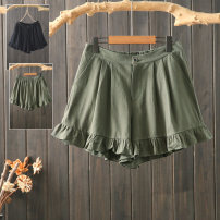 Casual pants Black, army green XL,2XL,3XL Summer of 2019 shorts Wide leg pants High waist commute Thin money 96% and above pouilly angel cotton Korean version cotton