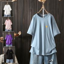 T-shirt White, blue, pink, black, purple XL,2XL,3XL,4XL Summer 2020 Short sleeve Crew neck easy Medium length routine commute cotton 96% and above Korean version originality pouilly angel