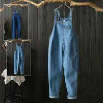 Jeans Spring of 2019 Light blue, dark blue 2XL,3XL,4XL,5XL,6XL trousers High waist rompers routine Washable, Multi Pocket Cotton denim Dark color 96% and above