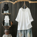T-shirt White, black XL,2XL,3XL,4XL Summer of 2019 elbow sleeve Hood easy Medium length routine commute cotton 96% and above Korean version originality pouilly angel