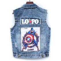 Vest male Yuyou spring and autumn routine No model Single breasted Denim other Cotton 95% polyurethane elastic fiber (spandex) 5% Big edition Class B Chinese Mainland