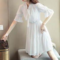 Dress Summer 2020 White, black S,M,L,XL,2XL,3XL Mid length dress singleton  Short sleeve Sweet other Elastic waist Solid color Socket A-line skirt Lotus leaf sleeve Others 25-29 years old Type A More than 95% Chiffon polyester fiber Mori