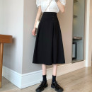 skirt Summer 2021 S,M,L Black, grayish blue Mid length dress commute High waist A-line skirt Solid color Type A 18-24 years old 30% and below other Korean version