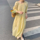 Dress Summer 2021 Yellow, pink Average size longuette singleton  elbow sleeve commute Crew neck Loose waist Solid color Socket Big swing bishop sleeve Others 18-24 years old Type A Korean version 30% and below