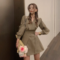 Dress Spring 2021 Black, brown S,M,L Short skirt singleton  Long sleeves commute V-neck High waist Solid color Socket A-line skirt routine Others 18-24 years old Type A Korean version 30% and below other other