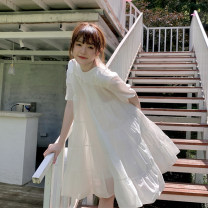 Dress Summer 2021 White, pink Average size Short skirt singleton  Short sleeve commute Crew neck Loose waist Solid color Socket A-line skirt other 18-24 years old Type A Korean version 30% and below other other