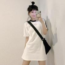 Dress Summer 2021 White dress, white short sleeve T-shirt, white skirt Average size Short skirt singleton  Short sleeve commute Crew neck High waist other Socket A-line skirt routine 18-24 years old Type A Korean version 30% and below other other
