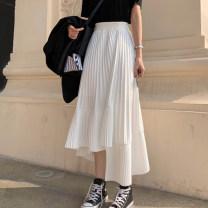 skirt Summer 2021 S, M Black skirt, white skirt longuette commute High waist Irregular Solid color Type A 18-24 years old 30% and below Korean version