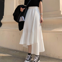 skirt Summer 2021 S, M Black skirt, white skirt longuette commute High waist Irregular Solid color Type A 18-24 years old 30% and below Korean version