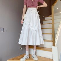 skirt Spring 2021 Average size White, black Mid length dress commute High waist Irregular Solid color Type A 18-24 years old 30% and below other other Pleating Korean version