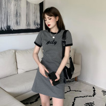 Dress Summer 2021 grey Average size Short skirt singleton  Short sleeve commute Crew neck High waist letter A-line skirt routine 18-24 years old Type A printing 30% and below