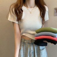 T-shirt Rose, white, green, blue, black Average size Summer 2021 Short sleeve Crew neck Self cultivation have cash less than that is registered in the accounts routine commute other 30% and below 18-24 years old Korean version other