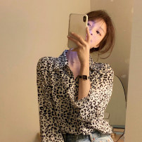 shirt Leopard shirt Average size Spring 2021 other 30% and below Long sleeves commute Regular stand collar Single row multi button routine Leopard Print 18-24 years old Straight cylinder Korean version Button