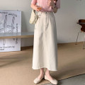 skirt Spring 2021 Average size Sky blue, off white, black longuette commute High waist A-line skirt Solid color Type A 18-24 years old 30% and below Korean version