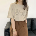 T-shirt Khaki, apricot, white Average size Summer 2021 Short sleeve Crew neck easy Regular routine commute other 30% and below 18-24 years old Korean version printing