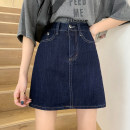 skirt Summer 2021 S,M,L navy blue Short skirt Retro High waist A-line skirt Solid color Type A 18-24 years old 30% and below other other