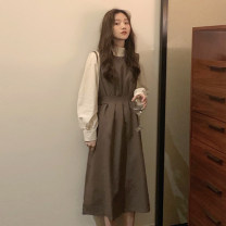 Dress Spring 2021 Card dress, black dress, apricot base Average size longuette singleton  Sleeveless commute Crew neck High waist Solid color Socket A-line skirt 18-24 years old Type A Other / other Korean version 30% and below other other