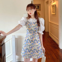Dress Summer 2021 Shirt, suspender skirt S. M, average size Short skirt singleton  Sleeveless Sweet One word collar High waist Broken flowers Socket A-line skirt Others 18-24 years old Type A 30% and below other other solar system