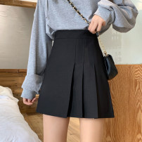 skirt Summer 2021 S,M,L Gray, black Short skirt commute High waist Pleated skirt Solid color Type A 18-24 years old 30% and below other other Korean version