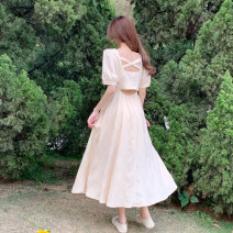 Dress Summer 2021 Goose short, goose long S, M longuette singleton  Short sleeve commute square neck High waist Solid color Socket A-line skirt puff sleeve Others 18-24 years old Type A Korean version 30% and below