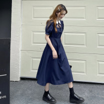 Dress Summer 2021 Navy, white, purple Average size Mid length dress singleton  Short sleeve commute other High waist Broken flowers Socket Big swing puff sleeve 18-24 years old Type A Korean version 30% and below other other