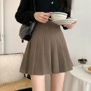 skirt Summer 2021 S,M,L Black, brown Short skirt commute High waist Pleated skirt Solid color Type A 18-24 years old 30% and below fold Korean version
